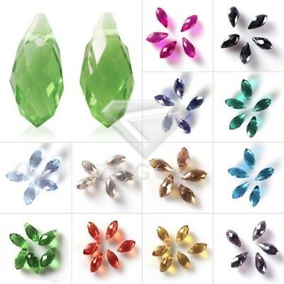 10pcs DIY Crystal Teardrop Spacer Beads fit Faceted Jewellery Making 6x12/8x13mm