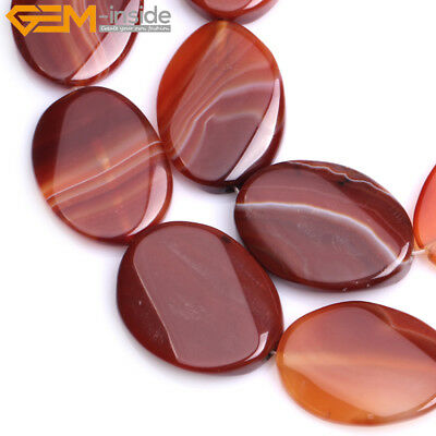 """Oval Twist Or Flat Natural Banded  Striped Agate Beads For Jewelry Making 15"""""""