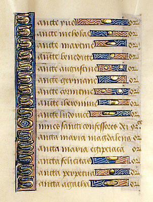 MEDIEVAL ILLUMINATED MANUSCRIPT BOOK OF HOURS LEAF, c1450 GOLD,LITANY OF SAINTS