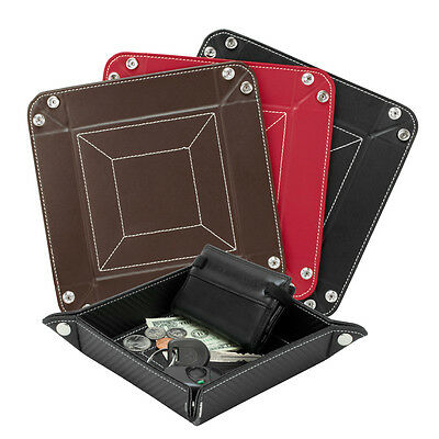 CHOOSE Leather Catchall Valet Tray Organizer Coin Change Key Wallet Phone Caddy