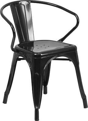 Black Indoor-Outdoor Restaurant Metal Dining Chair With Arms