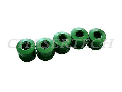 New Bicycle Bike Alloy 7075 Single Speed 6.5mm Chain Ring Bolt Nut Set Green