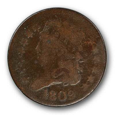 1809 Circle in 0 Classic Head Half Cent Tough Variety Coin #11001