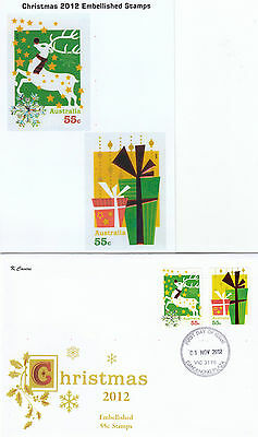 "2012 Christmas set of 6 booklet stamps on set 4 limited edition ""K"" Covers FDC's"