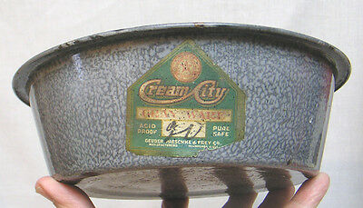 Vintage Gray Granite Ware Basin by Cream City with Original Label 1920s