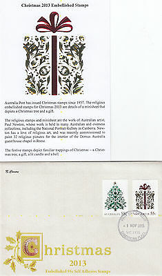"2013 Christmas embellished pair booklet stamps on limited edition ""K"" Covers FDC"