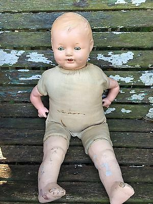 Antique Composition Doll With Teeth And Sleepy Eyes