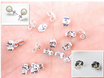20PCS 925 Sterling Silver BACK STOPPERS Earrings Jewelry Findings For Stud Pin