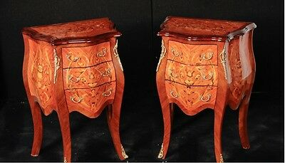 Pair French Louis XVI Bombe Chests Drawers Commodes Nightstands • £850.00