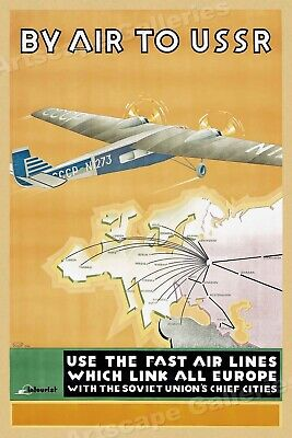 By Air to USSR 1930s Vintage Style Airway Soviet Russia Travel Poster - 20x30