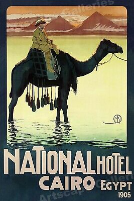 1905 National Hotel Cairo Vintage Style Egyptian Travel Poster - 20x30