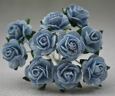 50 BABY BLUE ROSE (1 cm) Mulberry Paper for weddings crafts cardmaking