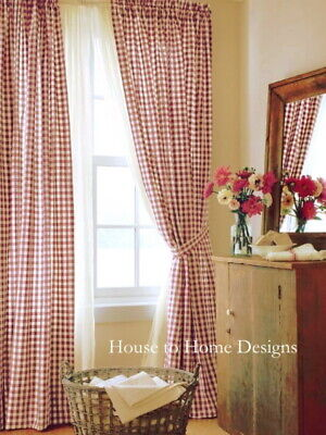 COUNTRY RED GINGHAM CHECK 84 x 40 CURTAIN PANEL SET : WHITE COTTAGE WINDOW