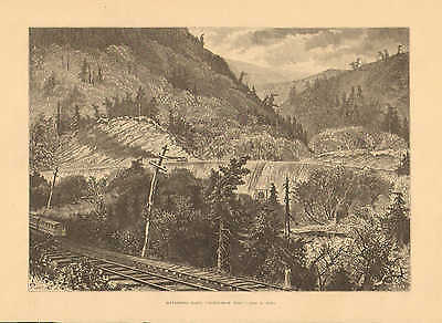 Kittanning Point, PA. Horse Shoe Bend, by John A. Hows, 1873 Antique Art Print