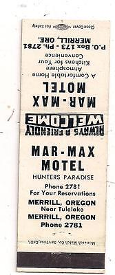 Mar - Max Motel Merrill OR Klamath Matchcover 070815