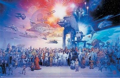 STAR WARS ~ SAGA CAST FIREWORKS 22x34 MOVIE POSTER Yoda Han Leia Tsuneo Sanda