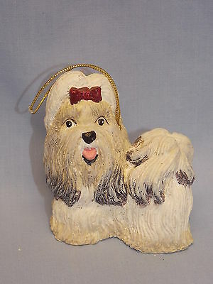 Shih Tzu Dog  Molded Resin Hand Painted Christmas Tree Ornament 3In Gold String