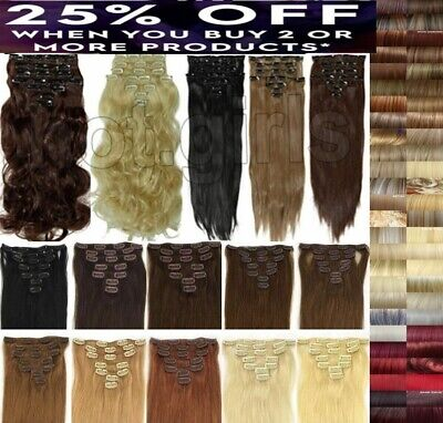 Hair Extensions 15 18 22 inch short Long Full Head 8 pieces Clip in hair brown