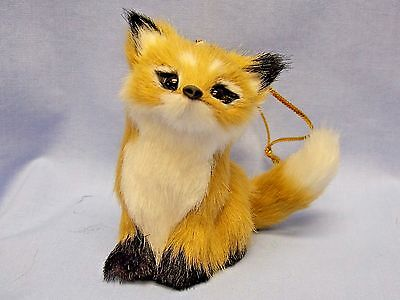 Sitting Red Fox Soft Furry Body Christmas Tree Ornament 3 In String to Hang-New