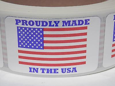PROUDLY MADE IN THE USA AMERICA 1.25x2 dull silver foil Sticker Label  250/rl