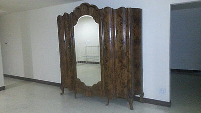 French Italian Victorian Antique Burled Walnut Armoire Wardrobe 3 Doors Carved F