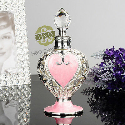 Vintage Metal Empty Crystal Perfume Bottle Refillable Wedding Favor Decor Gift