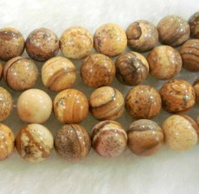 8mm round Chinese Picture stone gems loose beads 15inch