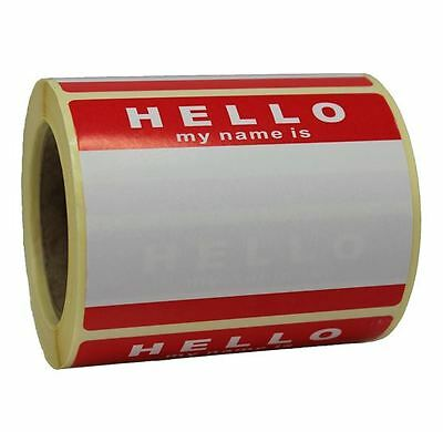 Roll Of 250 Hello My Name Is Stickers - Red / White - No Logo