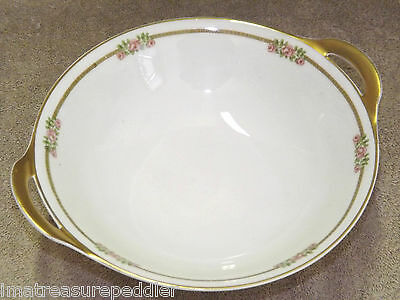 Theodore Haviland Limoges 636A Pink Roses Green Band Round Handled Serving Bowl