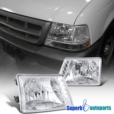 For 1998-2000 Ford Ranger LED DRL Headlights Head Lamps