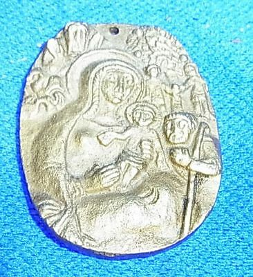 Vintage German Brass or Bronze Christianity Coin Virgin Mary Motive #AX