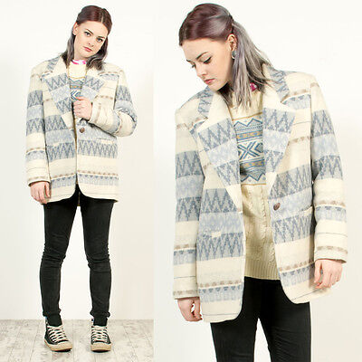 Womens Vintage 80's Aztec Striped Pattern White Blue Oversize Blazer Jacket 12