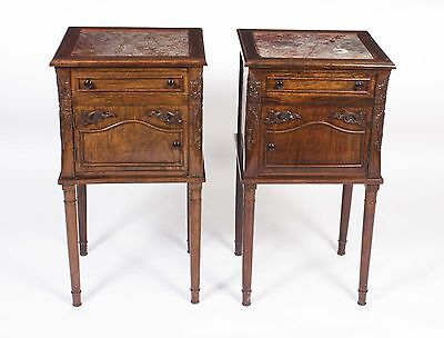 Vintage Pair French Walnut Bedside Cabinets