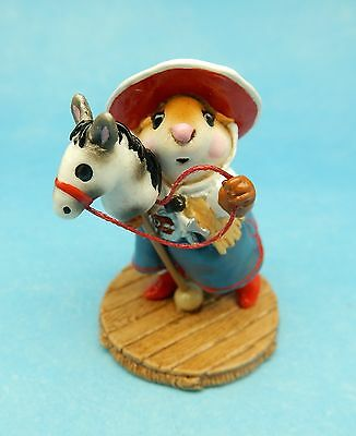 CLIPPITY CLOP by Wee Forest Folk, WFF# M-290, RED Retired Mouse Cowgirl