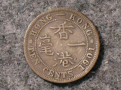 1901 Hong Kong 10 Cents - Old Foreign World Coin - Queen Victoria