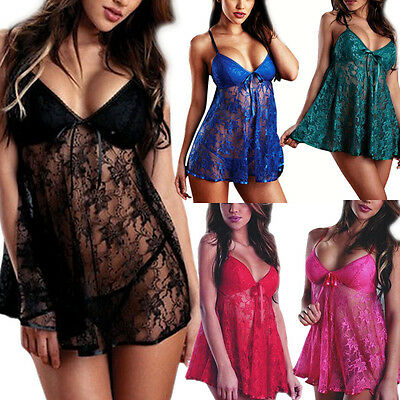 CLEARANCE-Women-Sexy-Lingerie-Lace-Dress-Underwear-Babydoll-Sleepwear-G-string