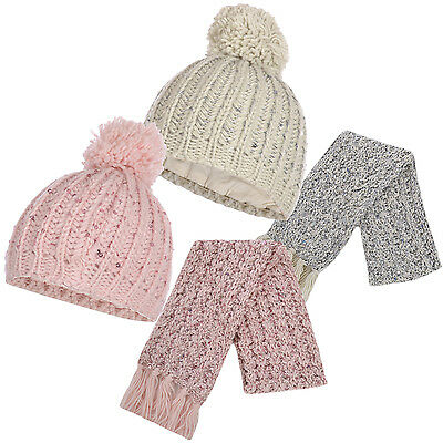 Next Girls 2 Piece Chunky Cable Knit Sequin Bobble Hat & Scarf Set