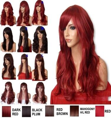 DARK RED Wig Long Natural Curly Straight Party Fancy Dress Halloween Ladies Wig