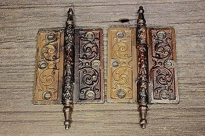 "2 Door Hinges 4 X 3 1/2"" steeple top old vintage iron grained paint Victorian"