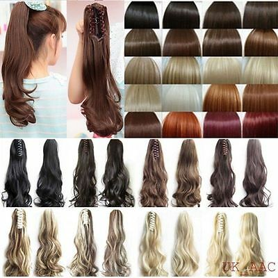 UK Real Thick Long Claw on Ponytail Clip in Hair Extensions Piece Curly Wavy