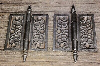"2 Door Hinges 4 1/2 X 4 1/2"" old vintage 1880's mansion clean cast iron"