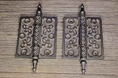 "2 Door Hinges 4 X 3 1/2"" steeple top pins old antique Victorian clean vintage"