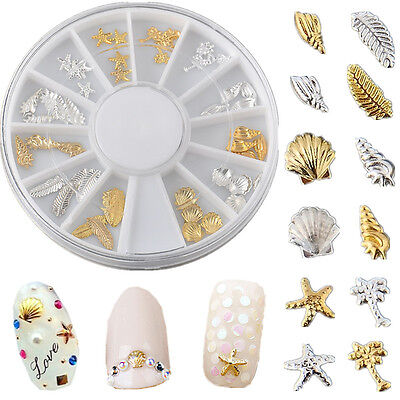 Starfish Feather Shell Conch Metal Nail Art Decorations Gold Silver Ocean Life