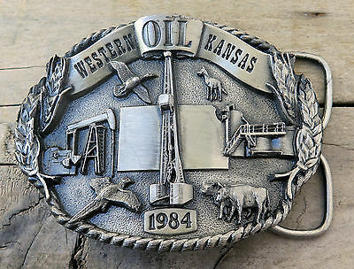 Western Kansas Oil Derrick Pump Petroleum 1984 Siskiyou Vintage Belt Buckle