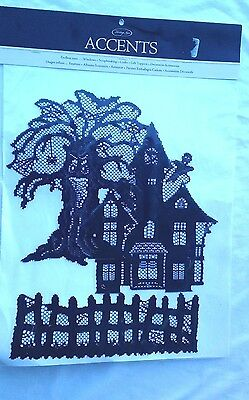 Black Lace Halloween Accents  decoration Tree Fence Haunted House Set of 3 New