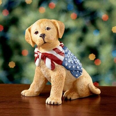 Lenox Freedom Puppy Patriotic Golden Retriever Dog American Flag NEW IN BOX