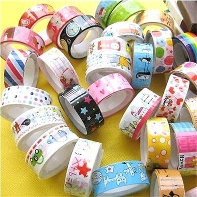 FD558 Rolls Mixed Cartoon Candy Deco Washi Tape Adhesive Scrapbooking Sticker x3
