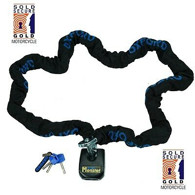 Oxford Monster Lock Motorcycle 2m Chain & Padlock  OF803 Thatcham Security SALE