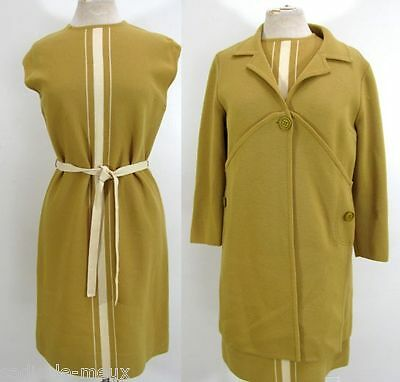 Vtg 60s Space Age MOD Mustard Gold WOOL ITALY DRESS COAT SUIT ENSEMBLE M