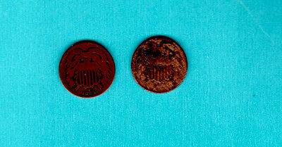 Lot of 2 - Shield 2 Cent Pieces - 1864 and Unreadable Date